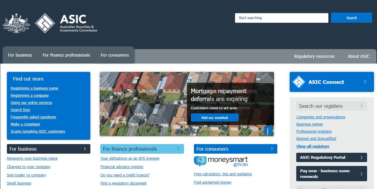 Australia ASIC website