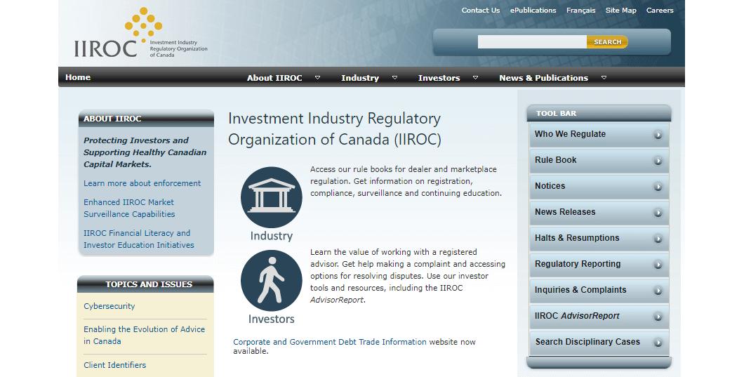 Canada IIROC website