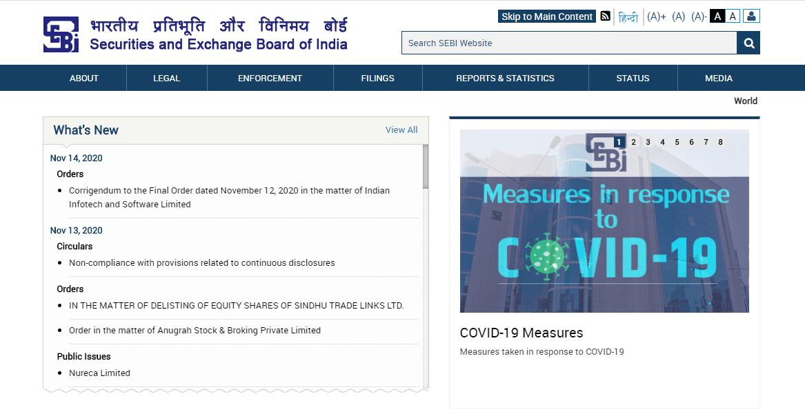 India SEBI website