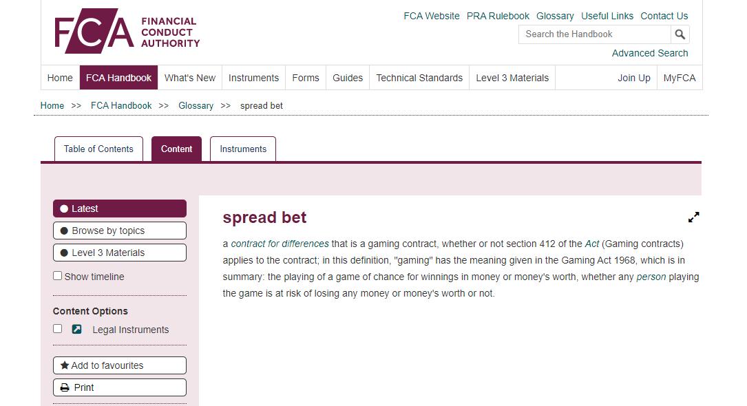 Spread Betting FCA