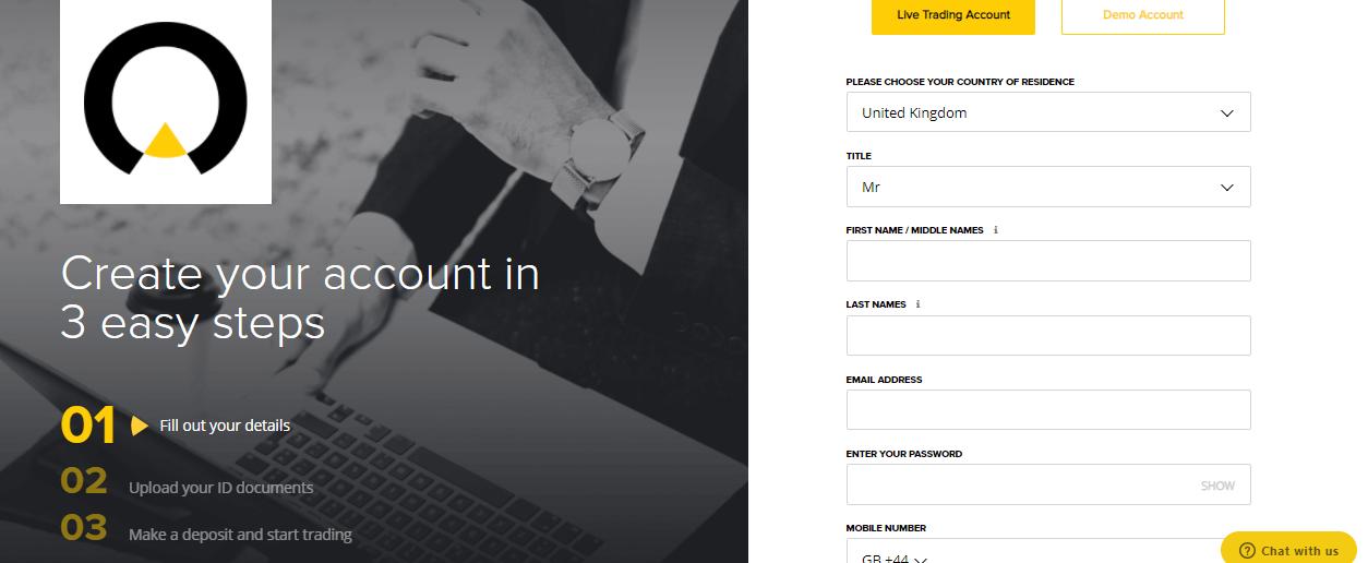 Infinox account open