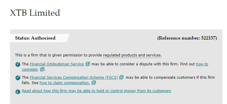 XTB regulation