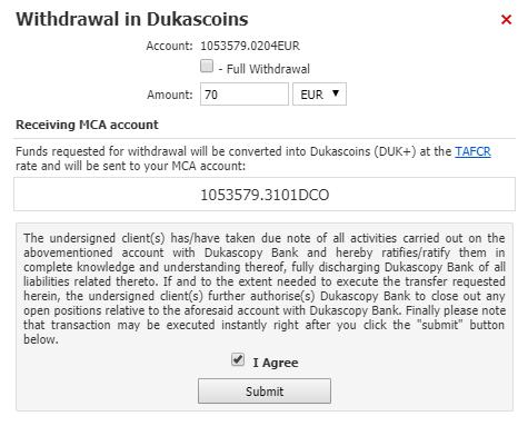 Dukascopy withdrawal