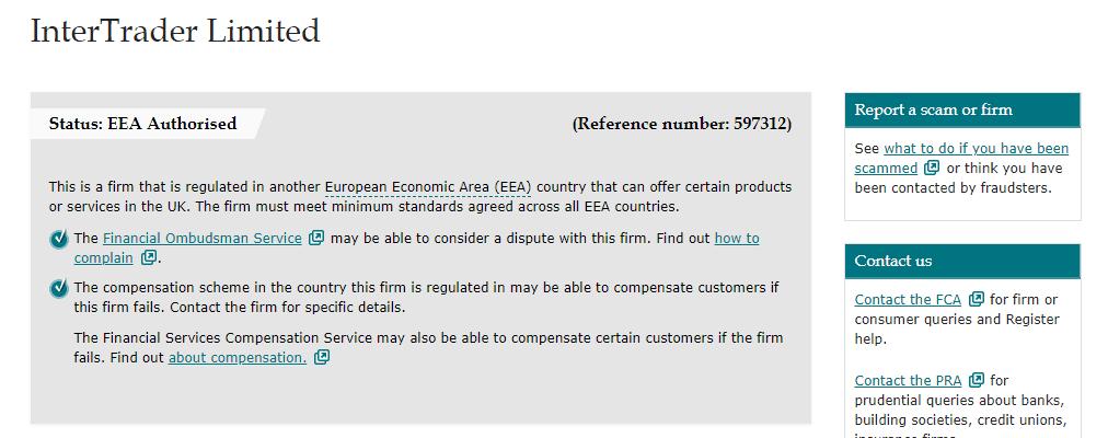 InterTrader license