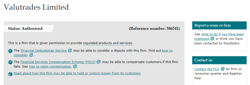 Valutrades license