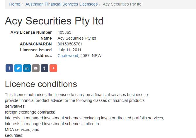 ACY Capital license