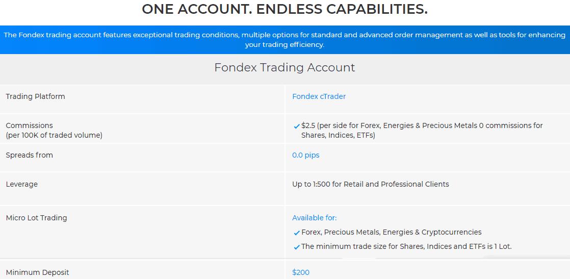 Fondex account