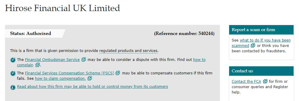 Hirose Financial license