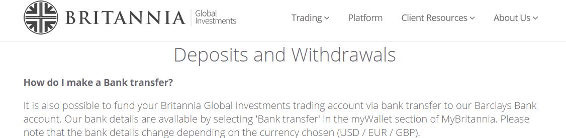Britannia Global Investments deposit