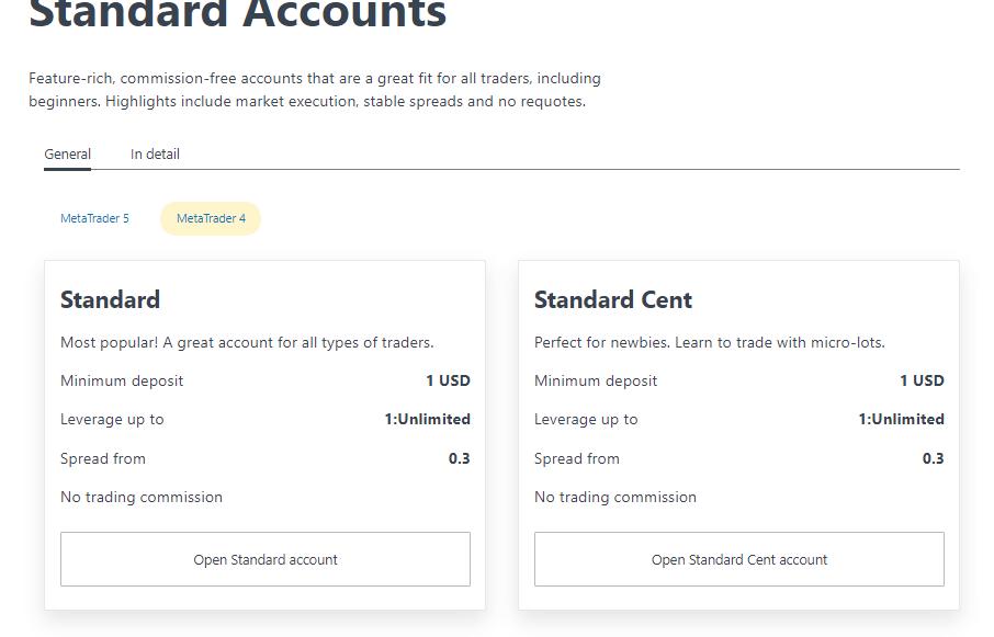 Exness accounts