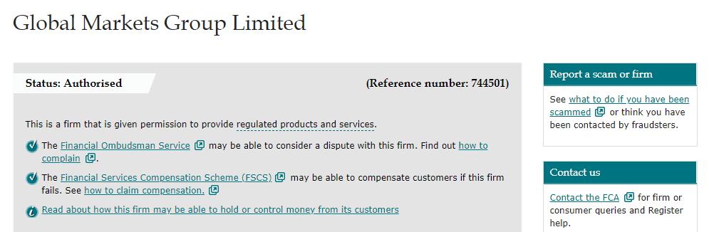 GMG Markets license