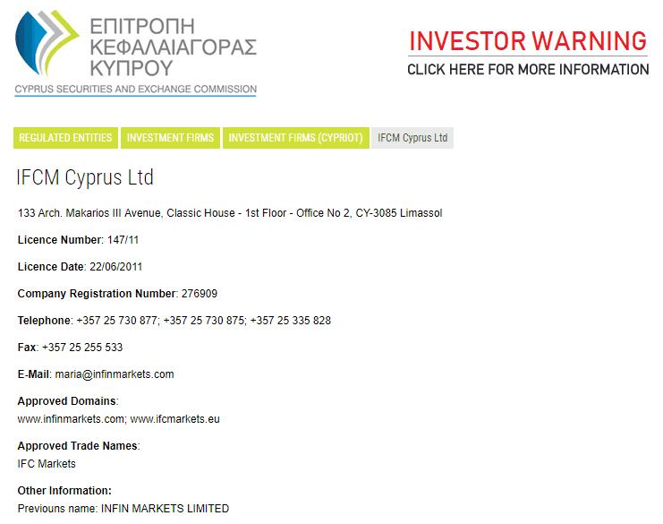 IFC Markets license