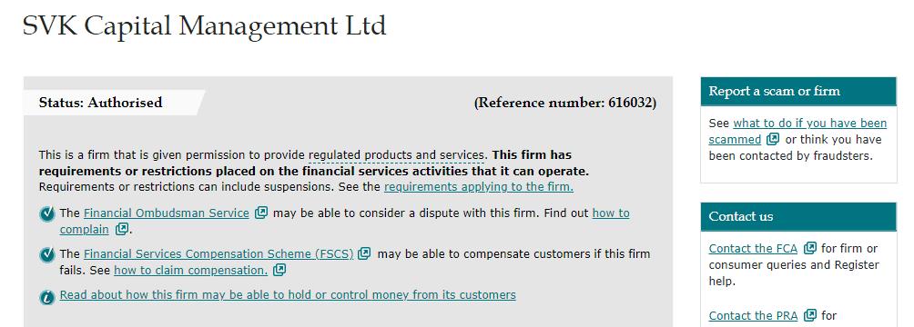 SVK Markets license