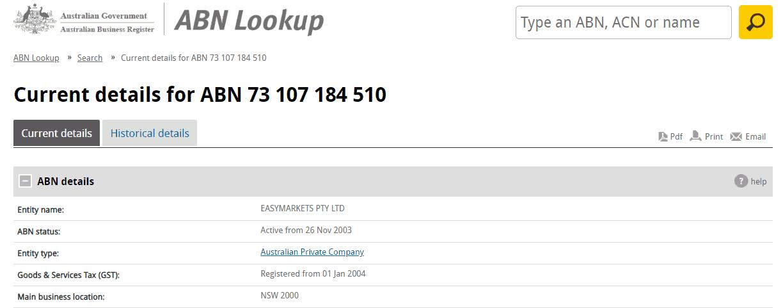 easyMarkets license