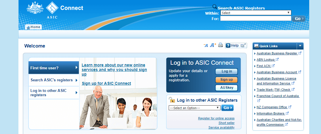 ASIC connect website