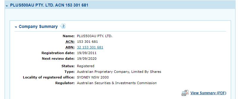 Plus500 license