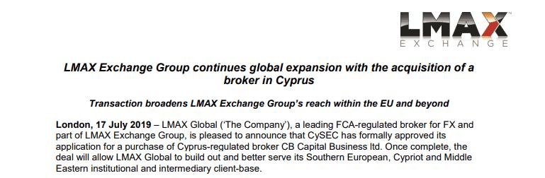 LMAX Exchange acquire Cyprus BrokerLMAX Exchange acquire Cyprus Broker