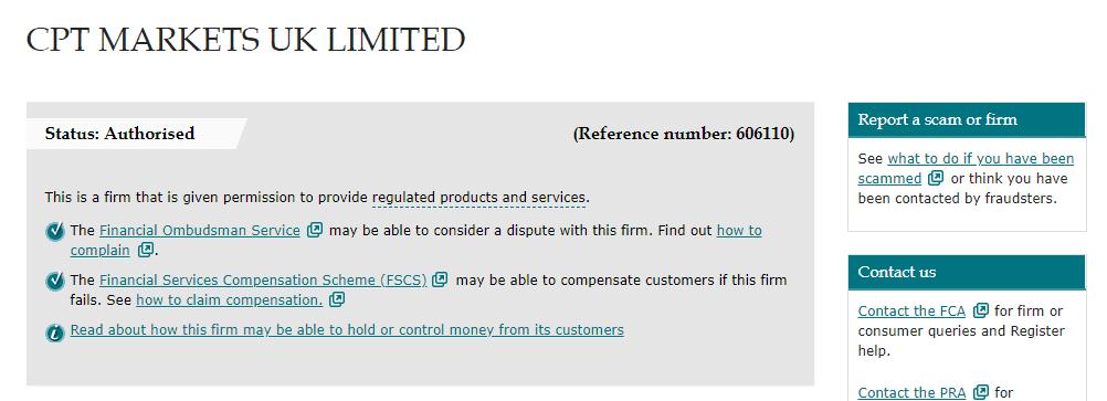 CPT Markets UK license