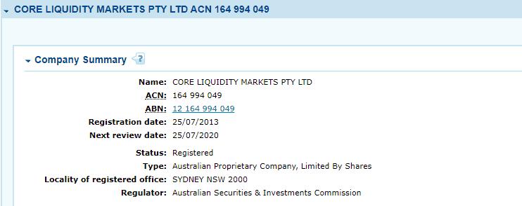 Core Liquidity Markets CLM license