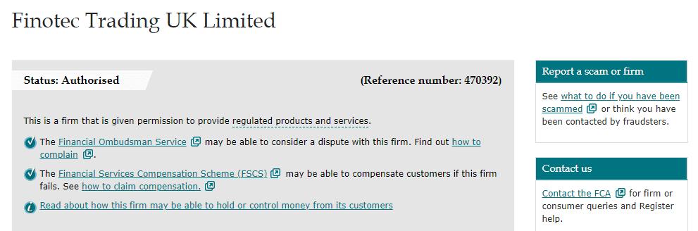 Finotrade license