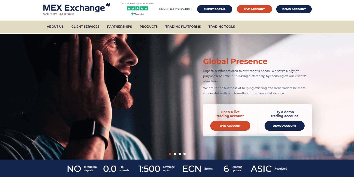 MEX Exchange website