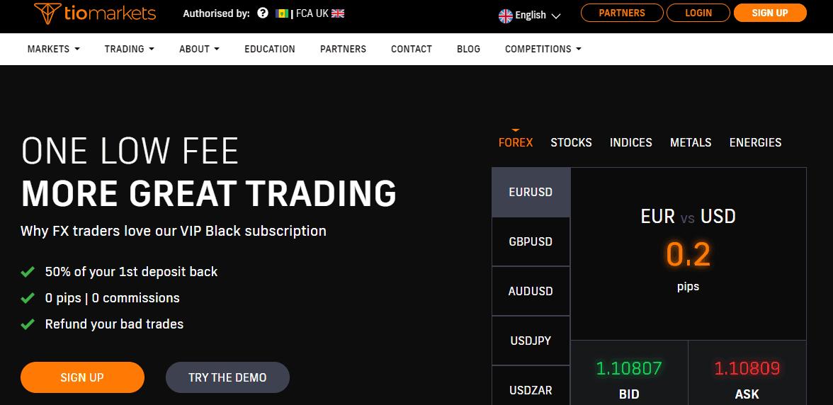 TIO Markets website