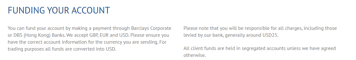 Valbury Capital funding account