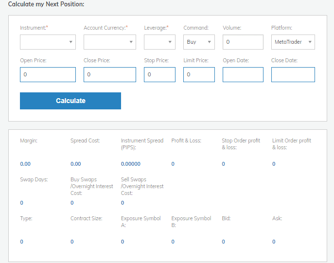 AvaTrade Forex Calculator