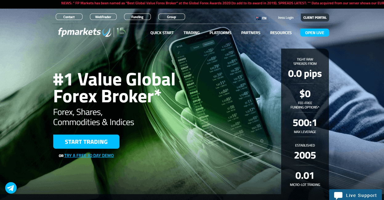 FP Markets website
