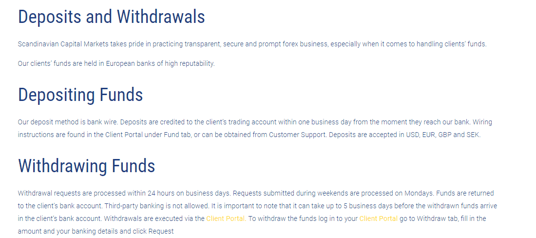 Scandinavian Capital Markets deposits